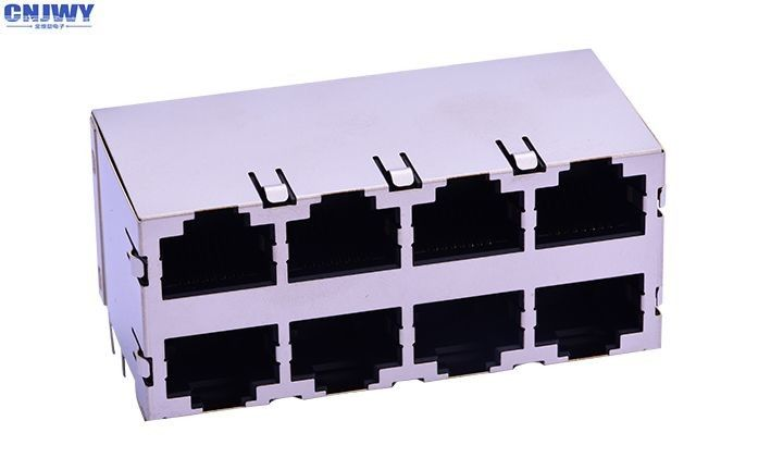 Double Layer  RJ45 Network Connector Socket 8 Port 8p8c 90 Degrees