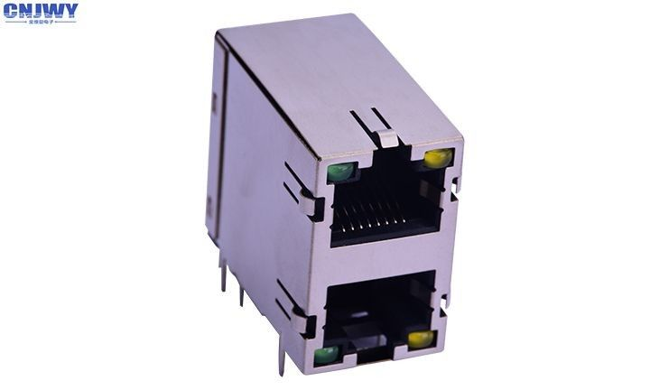 High Standard Rj45 Network Connector Double Layer With LED Lamp Custom