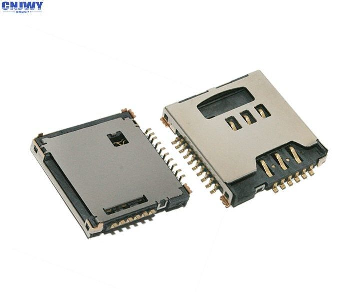 Metal Flip Micro Sim Card Connector , MS / Memory Card Socket Rated Current 0.5 A